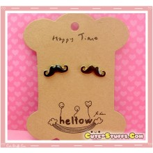 Kawaii Mustache Earrings w/ Gold Trim! - Black