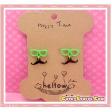 Kawaii Mustache Earrings with Glasses! Green!
