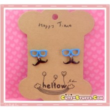 Kawaii Mustache Earrings with Glasses! Blue!