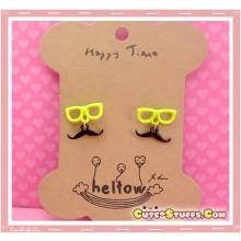 Kawaii Mustache Earrings with Glasses! Yellow!