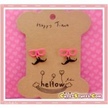 Kawaii Mustache Earrings with Glasses! Pink!
