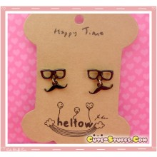 Kawaii Mustache Earrings with Glasses! Black!
