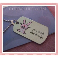 "Happy Bunny Dog Tag Necklace - ""You smell like doody"""