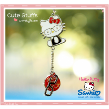 Kawaii Hello Kitty Enamel & Metal Keychain - Pink or Red!