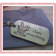 "Happy Bunny Dog Tag Necklace - ""I hate everything"""