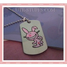 Happy Bunny Dog Tag Necklace - Kiss my butt (No text)