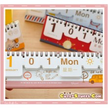 Rare Kawaii Universal Reusable Flip Desk Calendar! School Bus!