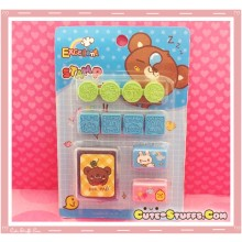 Kawaii Stamp Set! Green & Blue Bear