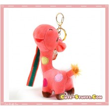Large Kawaii Nanaco Giraffe Plush Key Chain w/ Wrist Strap!  Peach!