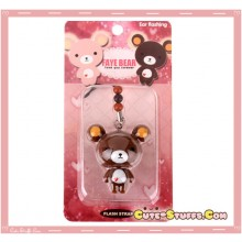 Kawaii RARE Faye Bear Flashing Phone Strap! Discontinued! Brown