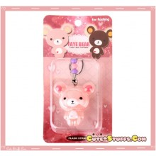 Kawaii RARE Faye Bear Flashing Phone Strap! Discontinued! Pink