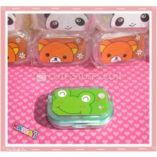 Kawaii Travel Lens Case or Trinket Box! - Frog w/ Green Case