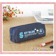 Kawaii Colorful Denim Pencil Case - Sky Blue Elephant