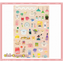Kawaii Transparent Sweet Kitchen Epoxy Glossy Stickers!