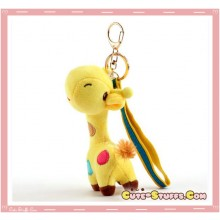 Large Kawaii Nanaco Giraffe Plush Key Chain w/ Wrist Strap! Yellow!