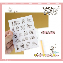 Kawaii Transparent Mini Character Brown Sticker Set! 4 Pages!