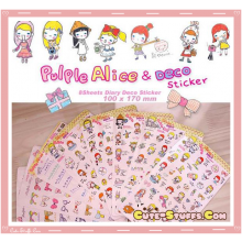Kawaii 8 Sheet Diary & Planner Transparent Stickers! Alice & Deco!