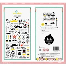 Kawaii Unique Mustache Sticker Set! Rare!