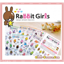 Kawaii 6 Sheet Diary & Planner Transparent Deco Rabbit Girl Sticker Set!
