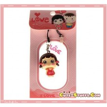 Kawaii Girl Enamel Bobble Head Phone Charm w/ Plug! Rare!