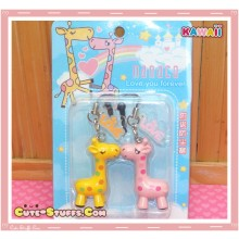 Kawaii Nanaco Giraffe Lovers 2PC Phone Strap Dust Plug Duo! Rare