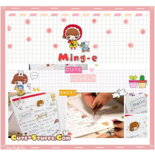 Kawaii Ming-E 6 Sheet Diary & Planner Transparent Stickers!