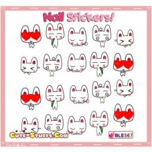 Rare Kawaii Nail Stickers! Cute Love Bunny!