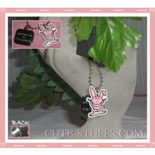 "Happy Bunny Necklace - ""Cruel but cute so I'm worth it"""