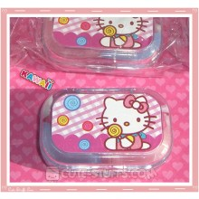 Kawaii Sparkle Travel Lens Case or Trinket Box! - Hello Kitty Lollipop Pink