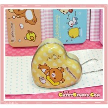 Kawaii Rilakkuma Tin Keychain Brown Heart Hamster
