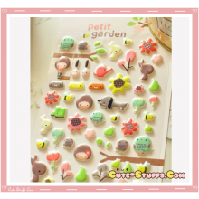 Kawaii Embossed Puffy Animal Sticker Set! Spring Garden!