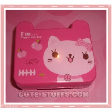 Kawaii Travel Lens Case or Trinket Box! - Pink Kitty w/ Apples