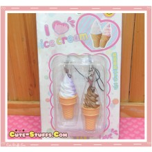 Kawaii Rare Ice Cream Phone Strap Duo Set! Chocolate & Vanilla!
