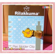 Kawaii San-X Kiiroitori Gold Plated Pen Holder Clip