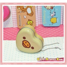 Kawaii Rilakkuma Tin Keychain Brown Heart Kiiroitori