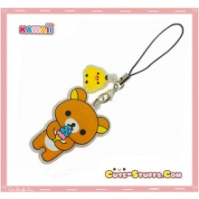 Kawaii Acrylic Rilakkuma Ice Cream Transparent Rhinestone Phone Strap