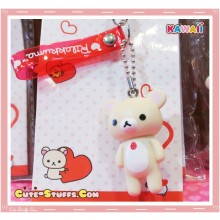 Kawaii Korilakkuma Large Heart Series Phone Charm w/ Translucent Strap