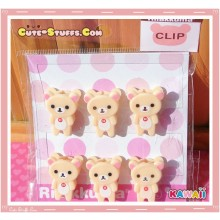 Kawaii San-X Korilakkuma 6 pc Clips Set
