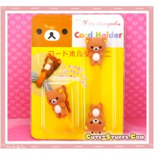 Kawaii Rare 2 PC Cord Holder Rilakkuma Button Clip
