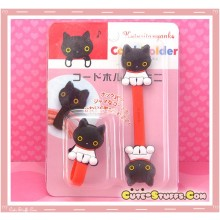 Kawaii Rare 2 PC Cord Holder Kutsushita Nyanko w/ Button clip