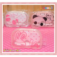 Kawaii Translucent Travel Lens Case or Trinket Box! - Love Rabbit Pink