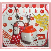 Kawaii Rare Flashing Milk Mascot Phone Charm w/ Wrist strap! Apple!