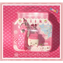 Kawaii Rare Flashing Milk Mascot Phone Charm w/ Wrist strap! Strawberry!