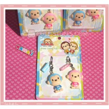 Kawaii Rare Paka Monkey Phone Strap Set! Pink & Blue!