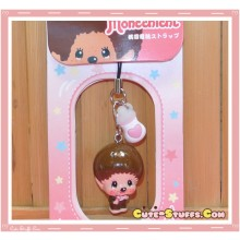 Kawaii Monchhichi Enamel Bobble Head Phone Charm! Rare!