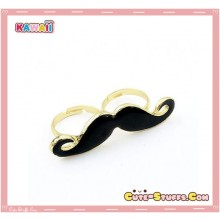 Kawaii Mustache Double Finger Ring