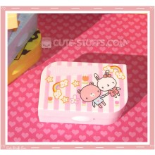 Kawaii Opaque Travel Lens Case or Trinket Box! - Bunny & Bear w/ Rainbows