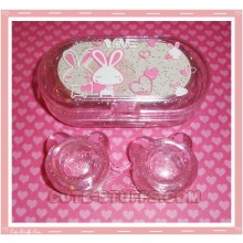 Kawaii Travel Lens Case or Trinket Box! - Love Rabbit w/ Glitter