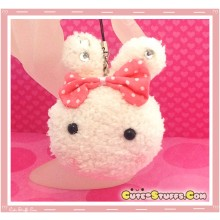 Kawaii Unique Plush Pink Bunny Centered Bow w/ Gems