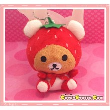 Kawaii Unique Large Plush Rilakkuma Bear Keychain Charm Fruit! - Strawberry